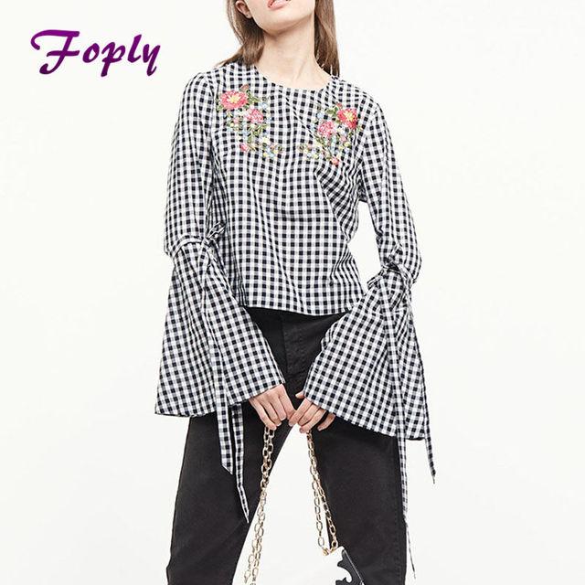 385b0050cf260e Foply Women Long Sleeve Blouse Black And White Checkered Bow Split Back  Peplum Top Plaid Womens Summer Cute Blouse