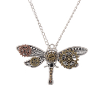 Vintage Gear Necklace Exquisite Dragonfly Shaped Steampunk Pendant with Long Silver Alloy Chain for Women Gift