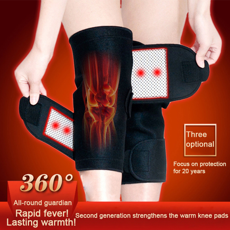 1 Pair Self Heating Knee Magnetic Tourmaline Belt Therapy Knee Support Brace Protective Pain Relief Health Care Knee Massager