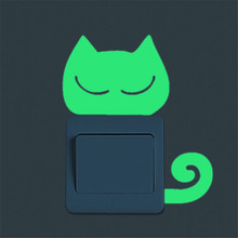 Cute Cat Shaped Wall Luminous Sticker for Home Decor