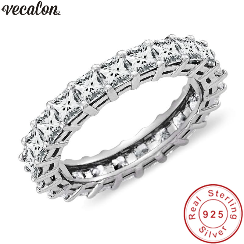 Vecalon Fine Finger ring Full Princess cut AAAAA Cz 925 Sterling Silver Engagement wedding Band rings for women Bridal jewelry men wedding band cz rings jewelry silver color anillos bague aneis ringen promise couple engagement rings for women