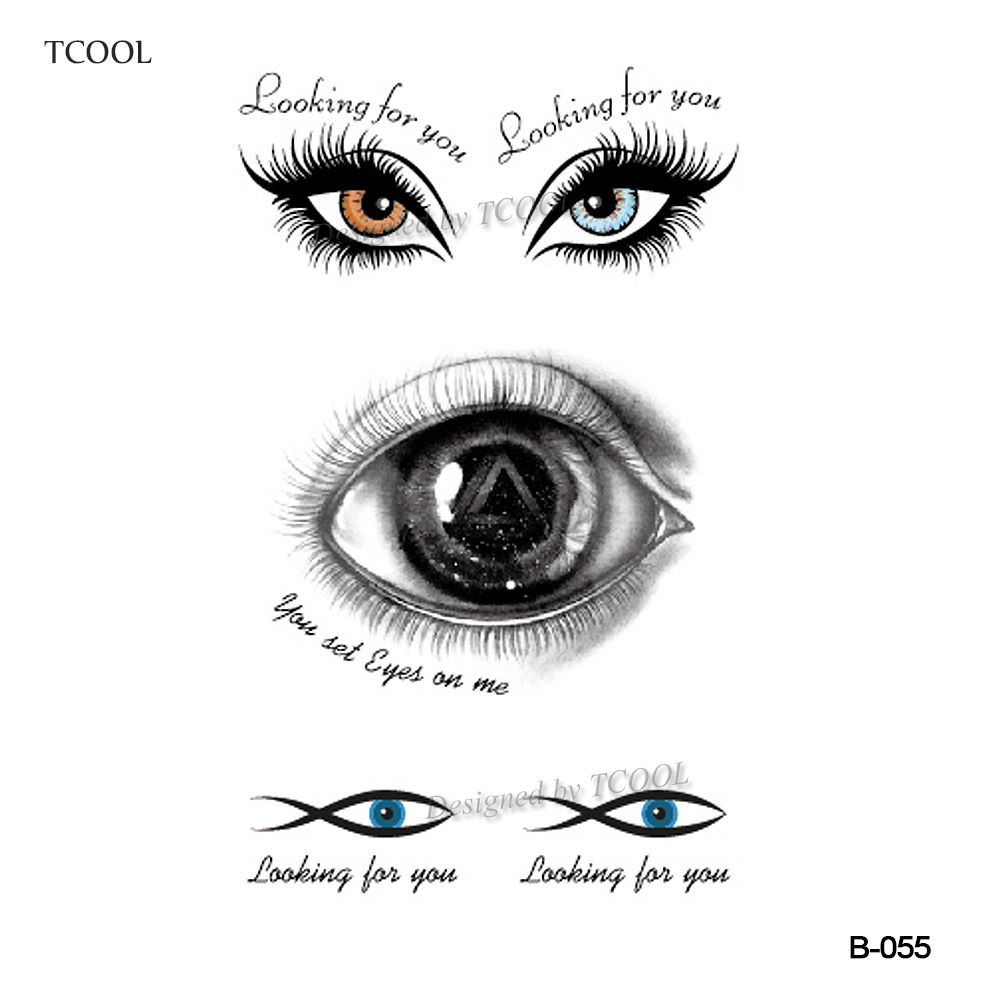 HXMAN Eye Temporary Tattoos Sticker Waterproof Women Fashion Fake Body Art Arm Tattoo 10.5X6cm Kids Face Hand Tatoo B-055