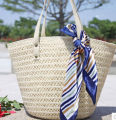 Summer new female bag straw woven shoulder bag hit color beach bag