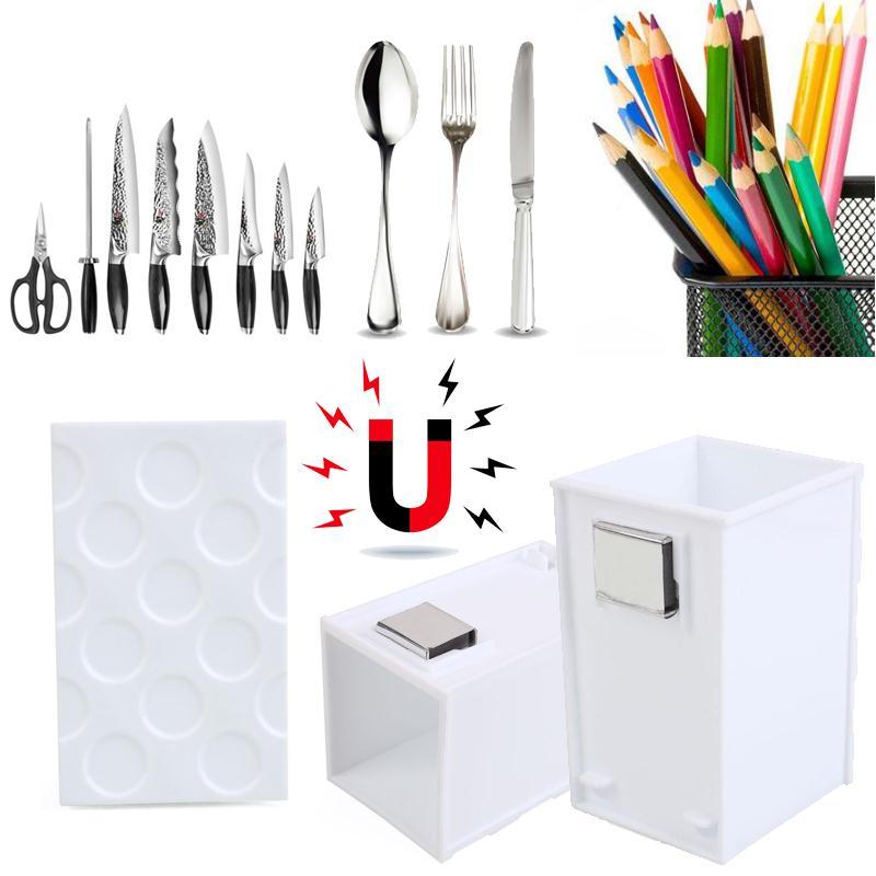 Rectangular Wave Point Magnet Storage Box Kitchen Tableare Storage Case Plastic Pen Container Holder Shelf Office Orginazer