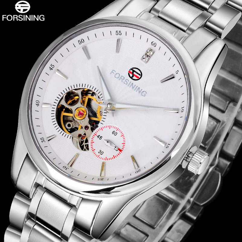 2016 FORSINING brand men watches simple automatic self wind watch white tourbillion dial imported 316L stainless steel band