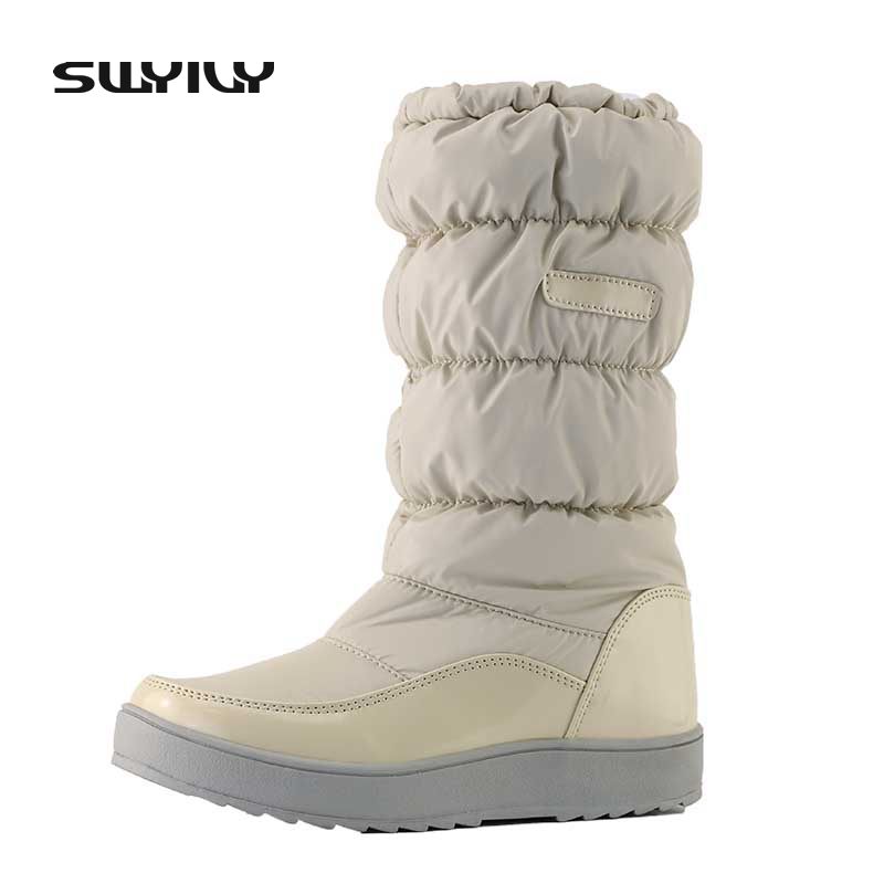 € 25.26 19% de DESCUENTO|Para 30 grados botas de invierno de las mujeres botas nuevas 2017 marca zapatos impermeables mujer botas de nieve Piel de