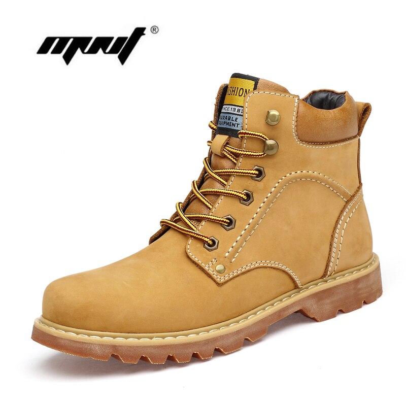 Super Chaud Hommes Bottes D'hiver En Cuir Naturel Cheville Bottes Automne Étanche Chaussures de Travail En Plein Air Automne Bottes Chaussures Hommes