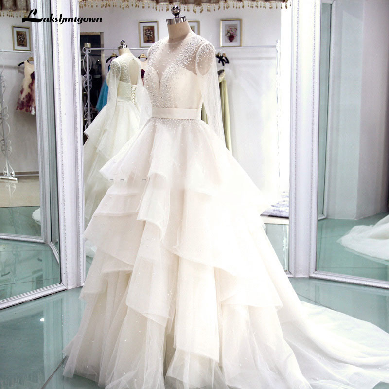 Long Sleeve Real Photo Cheap Wedding Dresses 2019 Tiered Beaded Luxury Bridal Gowns Robe De Mariage