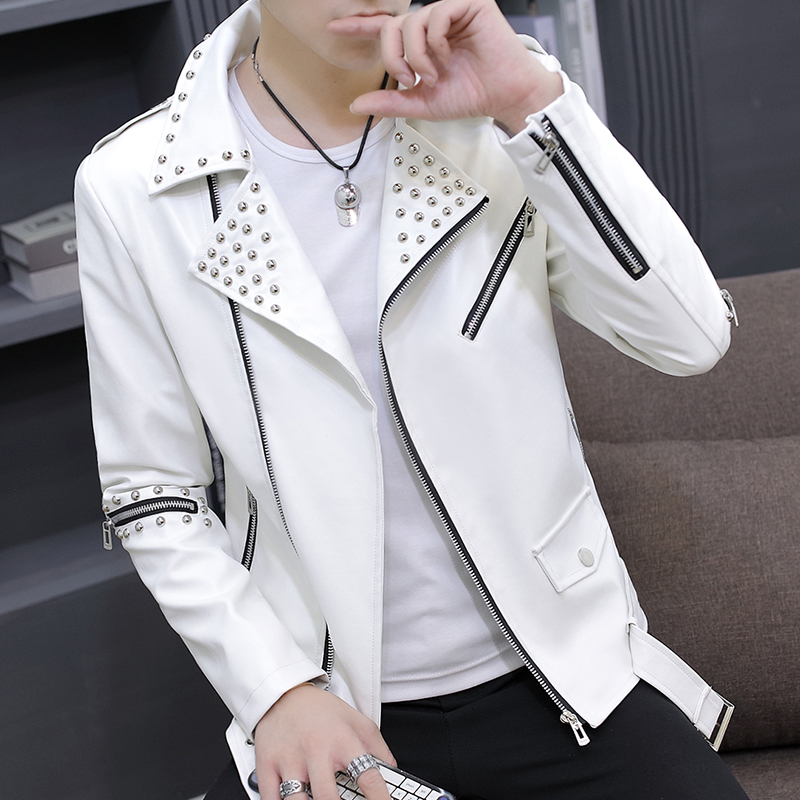HO New 2019 Autumn Leather Cultivate One's Morality Men Rivet Tide Handsome Motorcycle Jacket Lapels