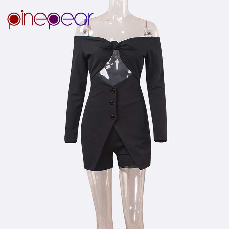 103a0acc8d ... PinePear Kim Kardashian Long Sleeve Off the Shoulder Bow Bandage Mini Dress  2019 High Street Women