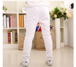 Image 2 - Boys Pants White Casual Pants 2019 Summer New Solid Straight Elastic Waist 100% Cotton Boy Trousers 110 160
