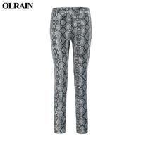 דפוס פיתון OLRAIN מתנה לחג המולד מכנסיים עיפרון גבוה מותן היה רזה מכנסיים מכנסיים אלסטיים Slim חותלות חורף חם אישי