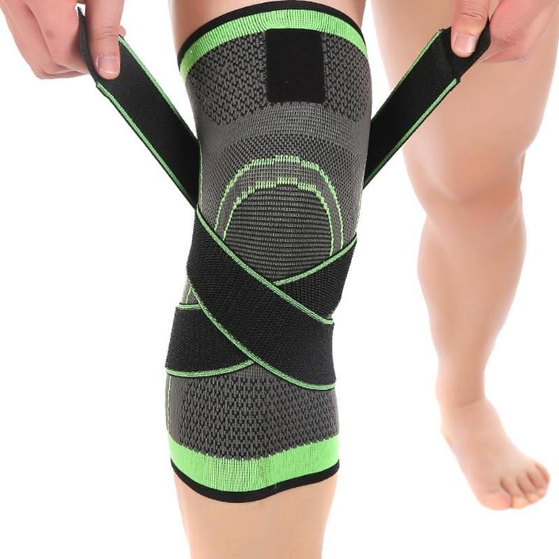 1pcs Straps Pressurized Sports Knee Pads 3D Weaving Basketball Tennis Hiking Knee Brace Support Professional Protector