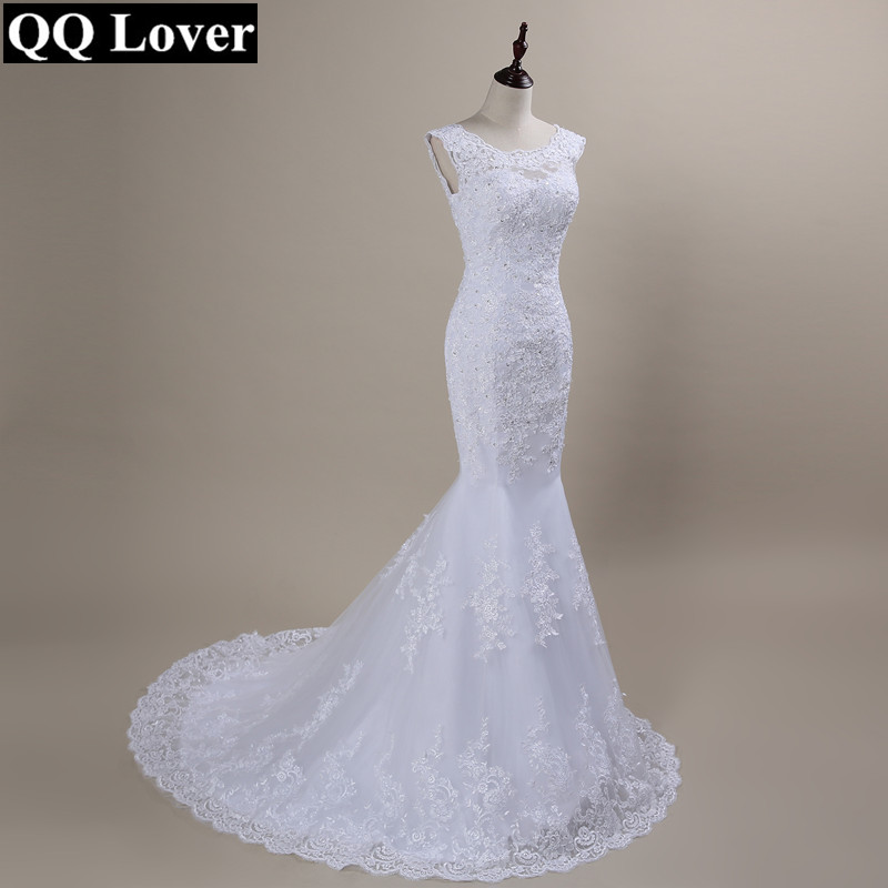 QQ Lover 2019 New Lace Mermaid Wedding Dresses Plus Size Bridal Alibaba Cheap Vestido De Noiva