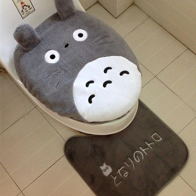 3 pezzi/set Super soft Shu velluto ispessimento wc set vasino coprivaso Totoro D