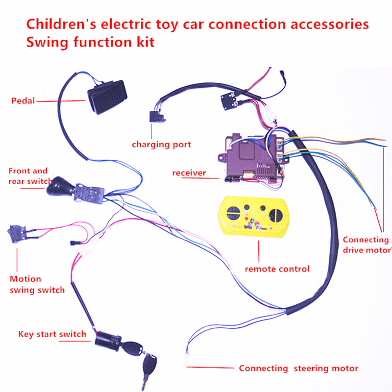 US $27.89 22% OFF Baby electric car DIY modified wires and switch kit,with on