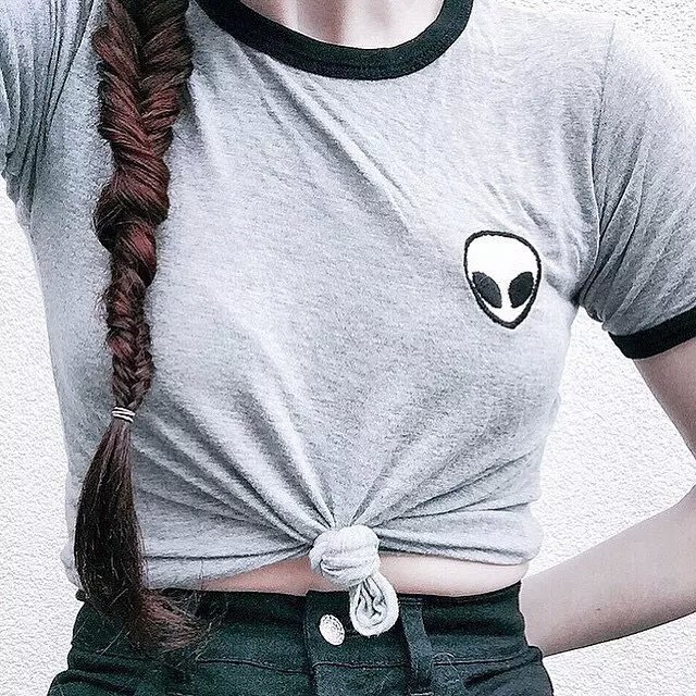 e9618b6bf09 Free Shipping 4 colors with real photos Brandy melville aa alien embroidery  all-match fashion short sleeve t-shirt woman tops