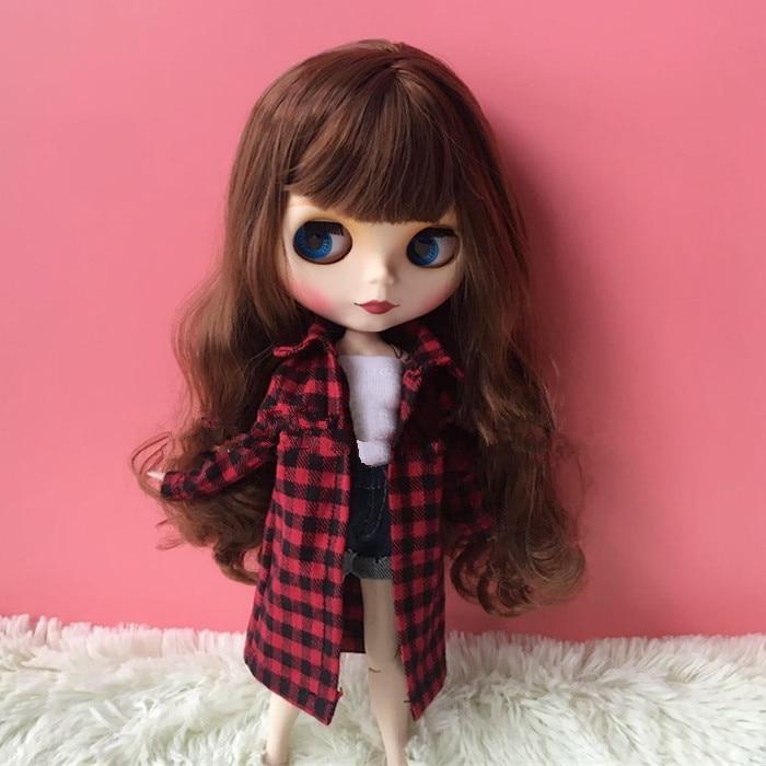 Одежда для куклы 1/6 Bjd, одежда в клетку, рубашка Blyth, одежда подходит для куклы Pullip blyth Licca Momoko Azone Pullip ICY 1/6, аксессуары для кукол Барби