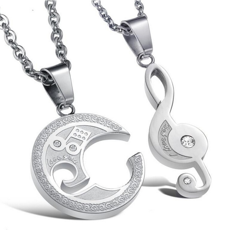 Wholesale 2019 New Fashion Jewelry Lovers' Romantic Musical Notes Splicing Pendant Women/men Stainless Steel Necklace