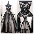 Cristais de Luxo Prom Dresses A Linha Querida Tulle Elegantes Vestidos De Noite Preto Vestidos Longos Graduação Vestido de Festa