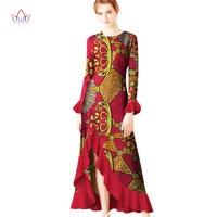 2017 Autumn Robe Africaine Femme Dashiki O Neck Dresses Ruffles Plus Size 5XL African Traditional Long