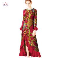 2017 Autumn Robe Africaine Femme Dashiki O Neck Dresses Ruffles Plus Size 5XL African Traditional Long