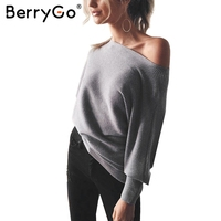 BerryGo Bat Long Sleeve Knitted Sweater Women Off Shoulder Sexy Elastic Knitting Pullover Female Fashion Jumper