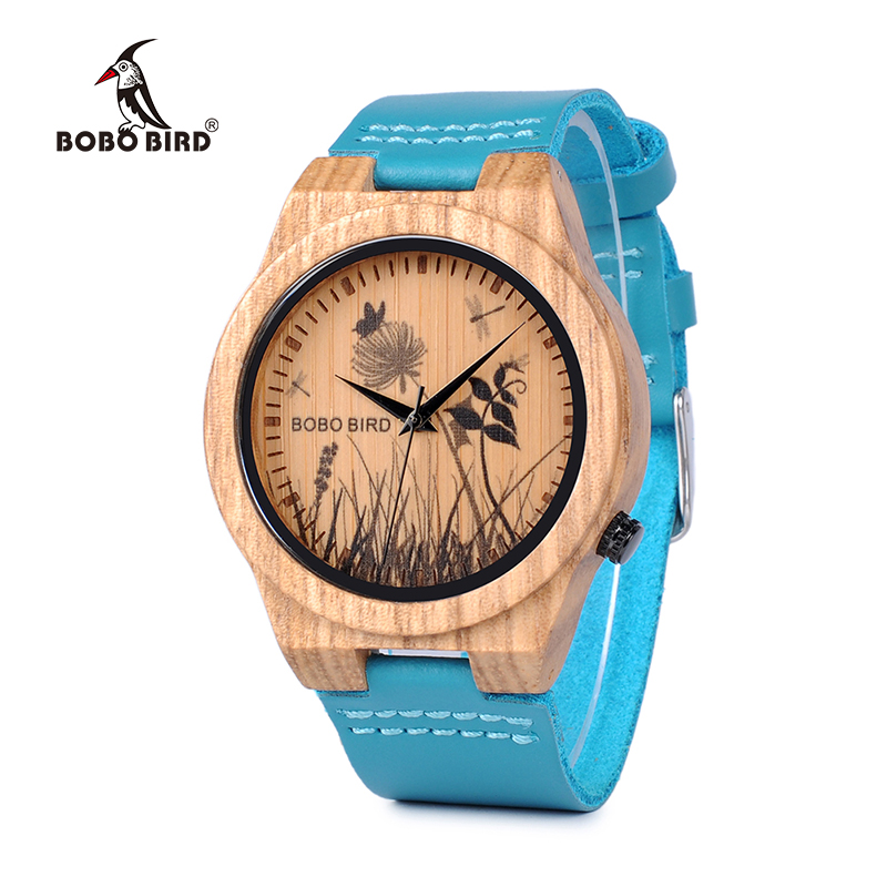 BOBO BIRD LP20-6 Landscape Reloj Mujer Watch Men Quartz Watch Zebra Wood Erkek Kol Saati  Blue Leather Strap Clock