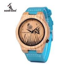 בובו ציפור LP20 6 נוף reloj mujer שעון גברים קוורץ שעון זברה עץ Erkek kol saati כחול עור רצועת שעון