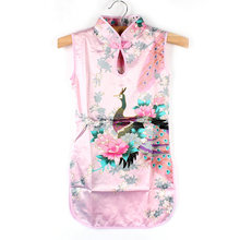 Baby Girl Sleeveless Chinese Style Dress Children Slim Floral Peacock Cheongsam for Kids Girls Clothes