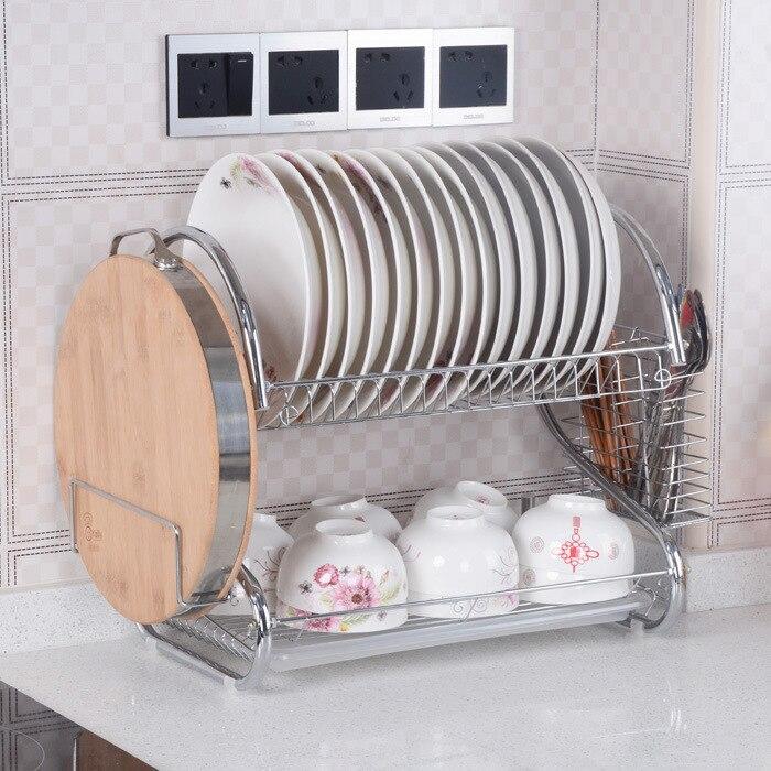 Ensemble porte-vaisselle en forme de S 2 niveaux en acier inoxydable chromé plat couverts porte-gobelet avec plateau en acier drain bol Rack cuisine plat étagère