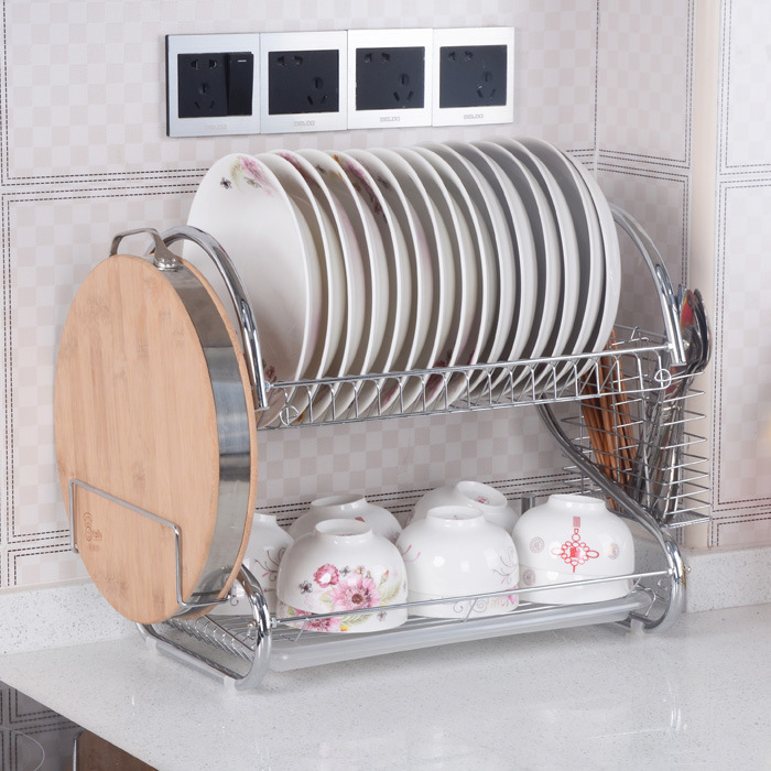 S Shaped Dish Rack Set 2 Tier Chrome Stainless Plate Dish
