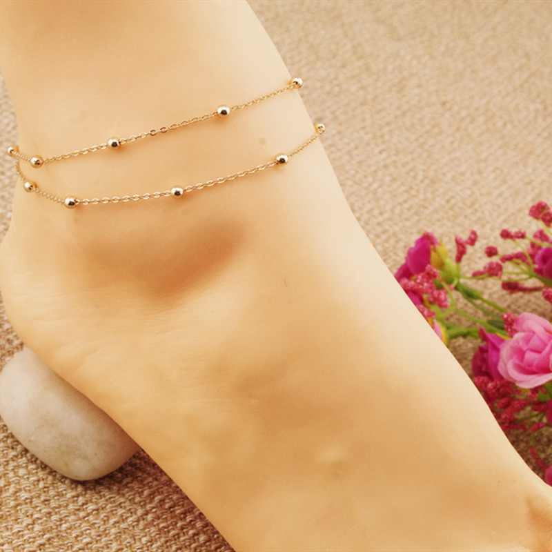 Popular Jewelry Women's Feet Accessories Gold Double Foot Chain  Anklets Bracelet Barefoot Stylish Beach Jewelry Chain On Foot
