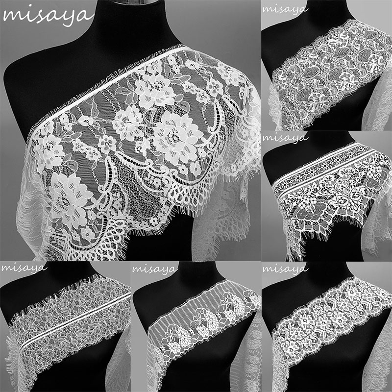 Misaya 3Yards/lot 6 Styles Eyelashes Lace Trim Flower Black White High Quality Lace Fabric Handmade DIY Clothes Accessories
