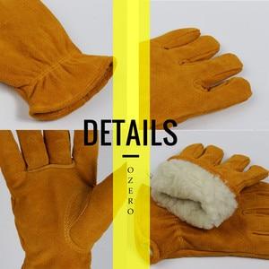 Image 5 - Мужские рабочие перчатки OZERO, теплые зимние кашемировые перчатки из воловьей кожи, с защитой от ветра, 2008