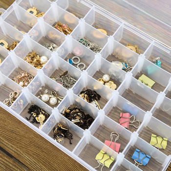 Adjustable 24 Compartment Transparent Plastic Storage Box Jewelry Earring Case small objects Caja de almacenaje