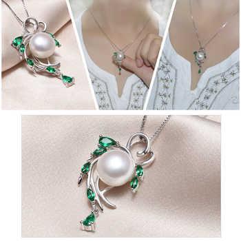 FENASY Pearl Jewelry Sets,Pearl Pendant Necklace Earrings For Women ,Bohemian 925 sterling silver Emerald leaf big earrings set