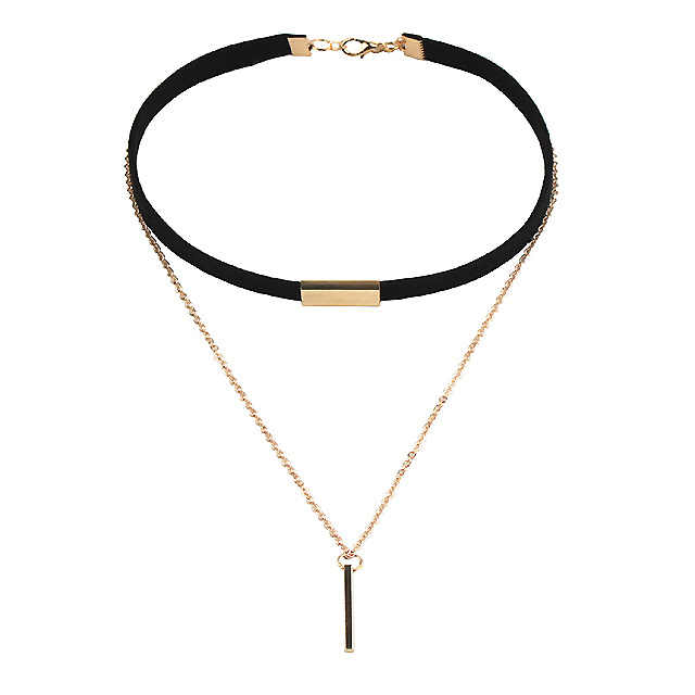 2018 Korean Fashion New Chain String Pendant Necklace Elegant Black Velvet Belt Women's Necklace Female Long Necklace