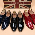 2016 New Oxfords Men Height Increasing Business Shoes Top Patent Leather Pointed Toe Man Lace-Up Red Dress Shoes Plus Size