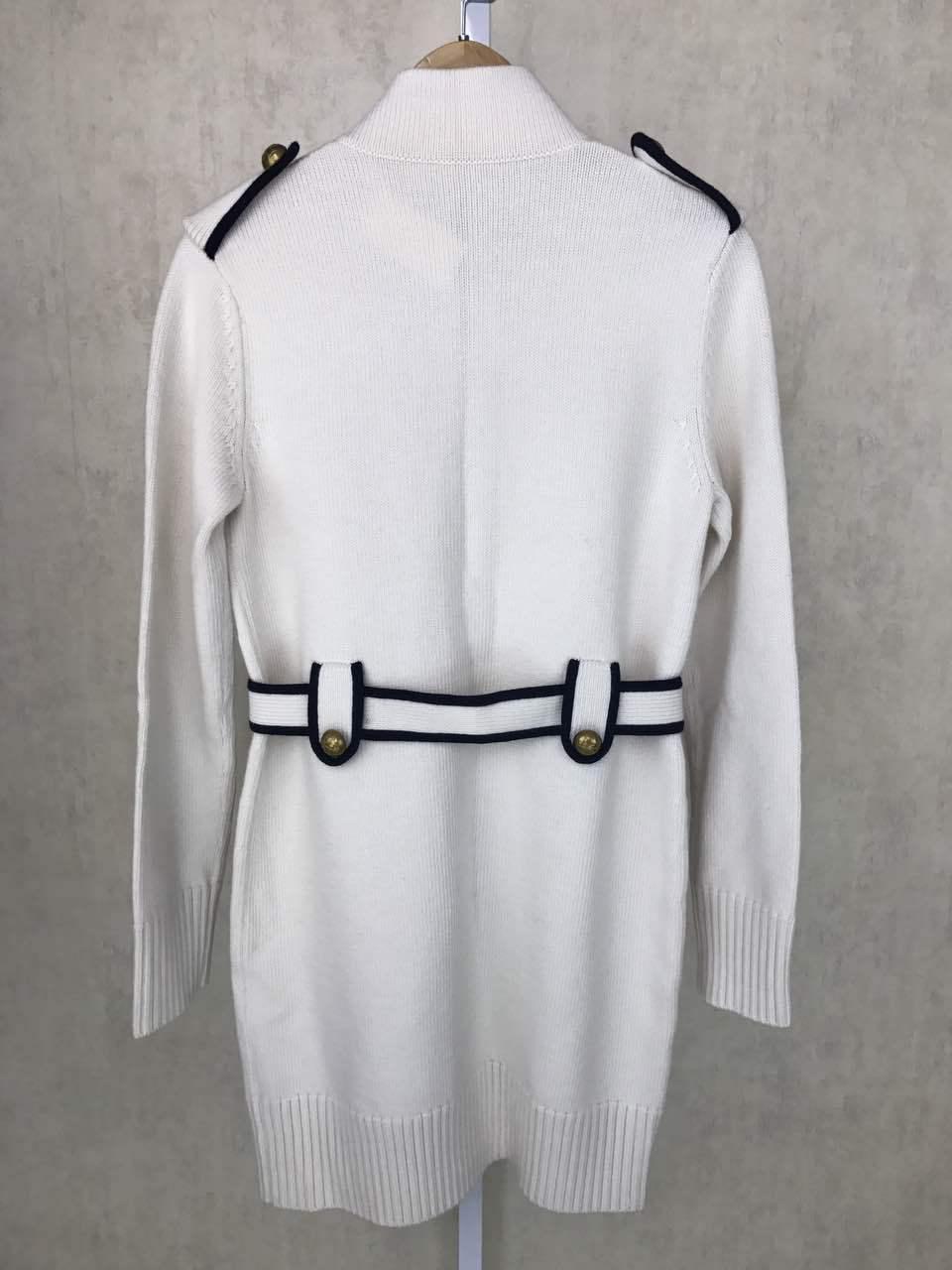 Suéter de punto blanco de punto largo cárdigan mujer de punto otoño e invierno abrigo y chaquetas con bolsillos de cinturón-in Caquetas de punto from Ropa de mujer    3