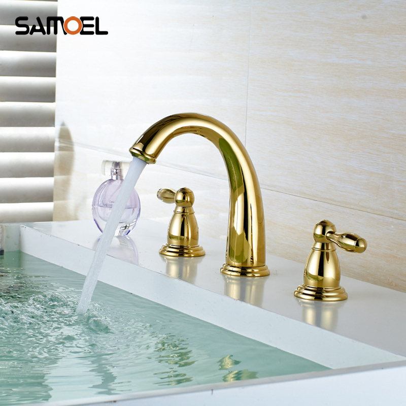 Luxury Golden Plated Brass Three Hole Basin Mixer Tap Gold 3 Hole Dual Holder Bathroom Sink