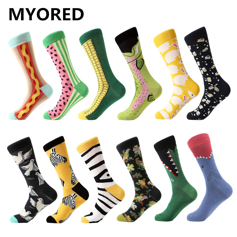 MYORED 12 pairs / party colorful, bright For women   socks   Novelty Dot maple leaf pattern cute female cotton Funny Gift   socks
