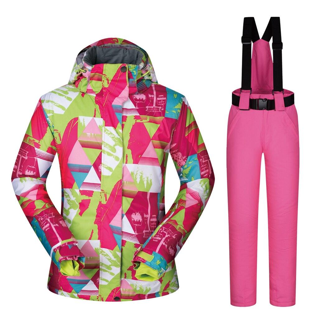 冬のスキースーツ女性ブランド LANCHE セット女性スキージャケットと雪のパンツ服ぬくもり防風防水スノーボードスーツ  グループ上の スポーツ & エンターテイメント からの スキー ジャケット の中 1