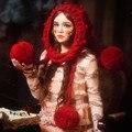 Мода Красная Шапочка и Перчатки Ручной Зима Теплая Толстая Вязаная Шапка Шапки Рождественский Подарок