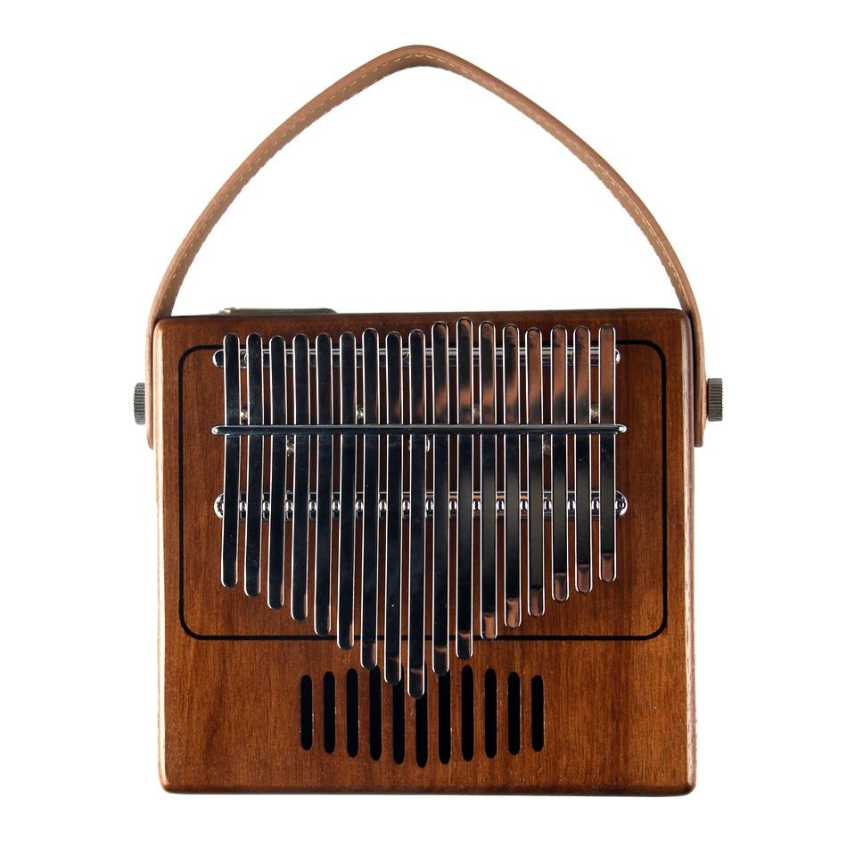 BATESMUSIC Single Board  Retro Radio Modeling Kalimba Thumb Piano17 Sounds Wooden Portable Finger Piano  Walnut