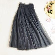 Ball Gown 2018 New Spring Elastic Waist Long Slim Mesh Skirt High Solid Pleated tutu Skirts for Women Saias Faldas