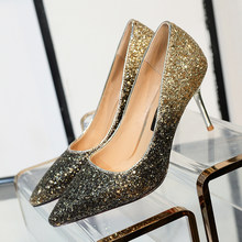 db8a215337d5 Pink Gold Silver Women High Heels Shoes Viola Mix Speckled Glitter Pointy  Toe Pumps Dress Shoes