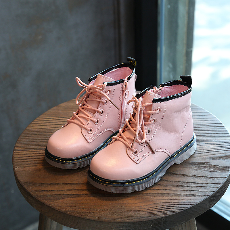 2017 Girls Rubber Boots Winter Shoes For Girls Genuine Leather Shoes Kids Martin Boots Children Footwear