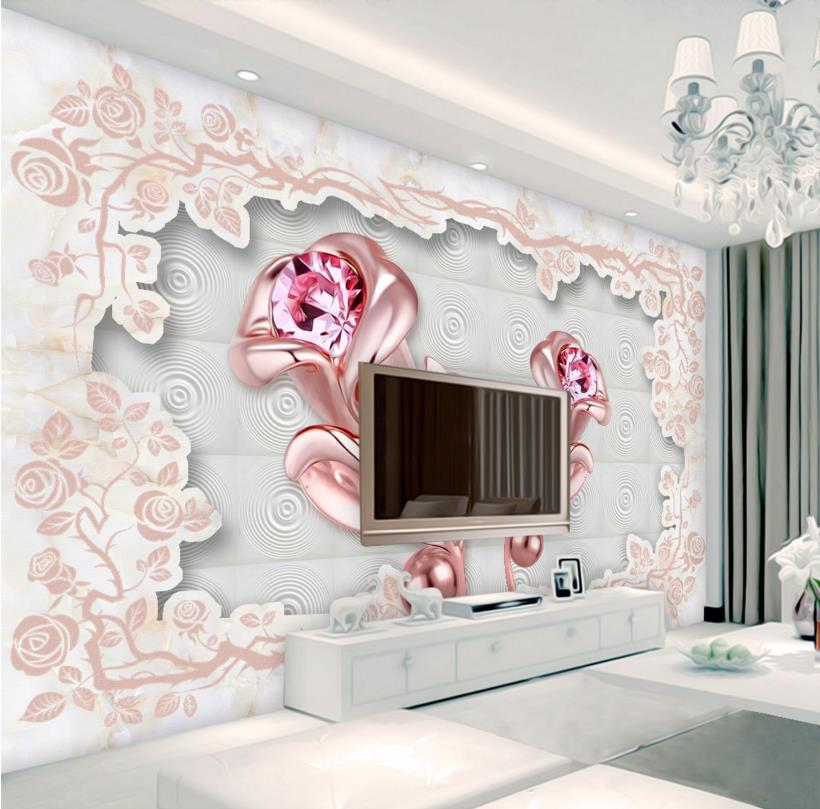 Wall Papers Home Decor 3D Photo Brief rose Wallpaper For Living Room Bedroom Modern wallpaper for walls 3 d Vinyl Wallpapers