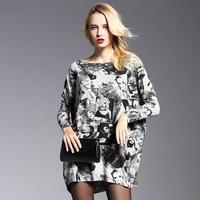 Plus Size Women Knit Sweater One Size Pullovers Streetwear Black White Patchwork Long Loose Design Slash Neck Sweaters